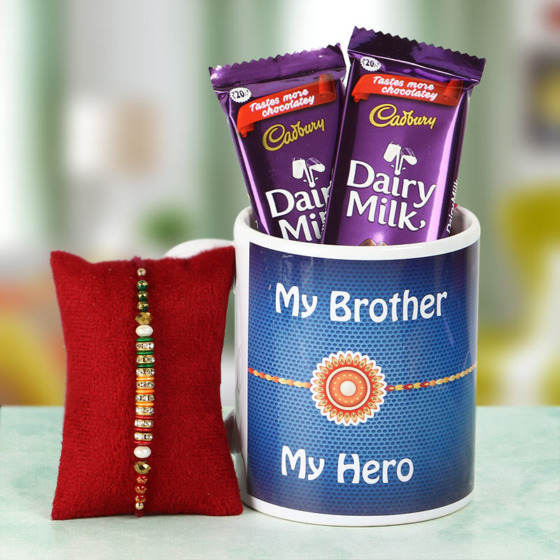 Chocolates and Rakhi in Mug