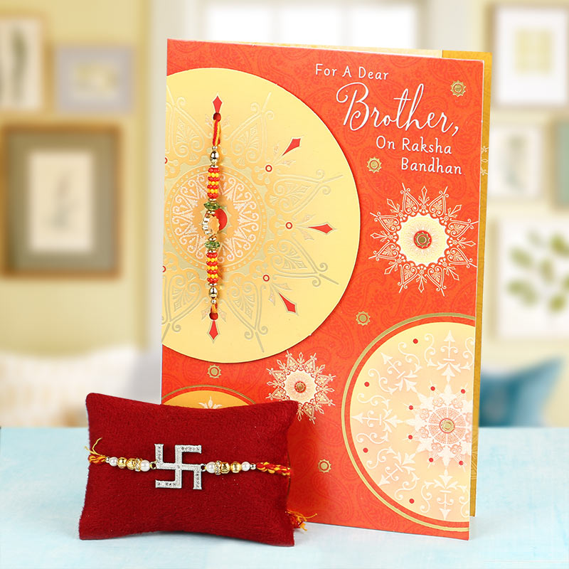 Swastika Rakhi With Greeting Card