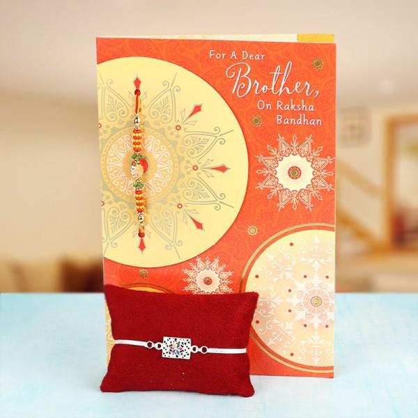 Silver Rakhi with Greeting Card