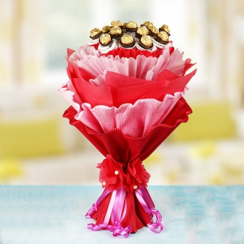 16 Pcs Ferrero Rochers Chocolate Bouquet with 2 Crepe paper wrapping and Tissue