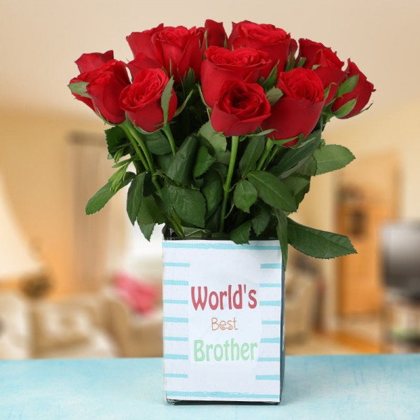 15 Red Roses in 1 Glass Vase