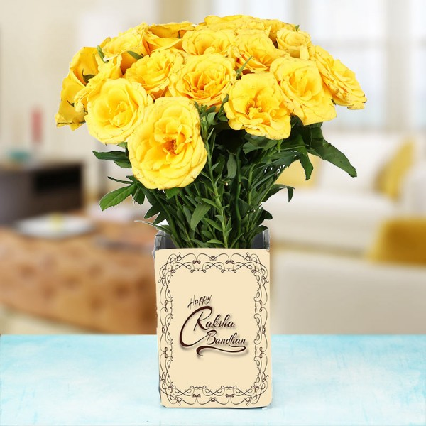 15 Yellow Roses in 1 Glass Vase