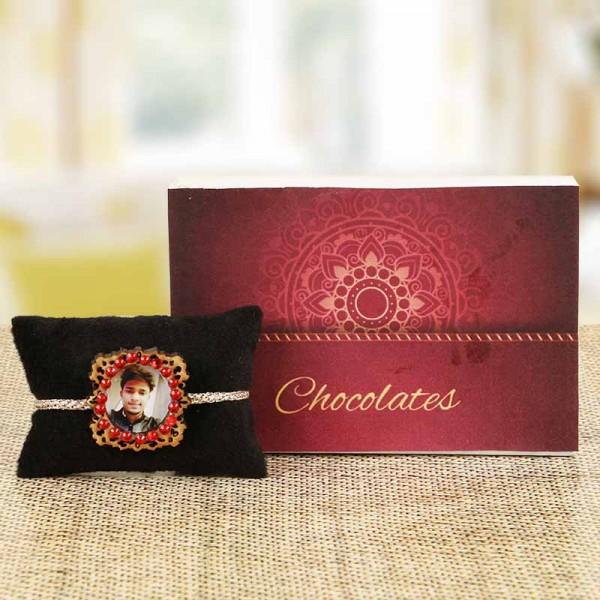 Personalised Photo Rakhi and Chocolates