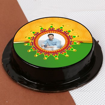 One Kg Chocolate Truffle Personalised Photo Cake for Rakhi