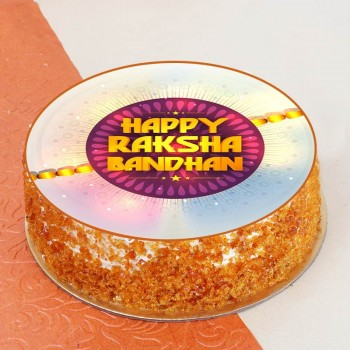 One Kg Butterscotch Cream Photo Printed Cake for Rakhi
