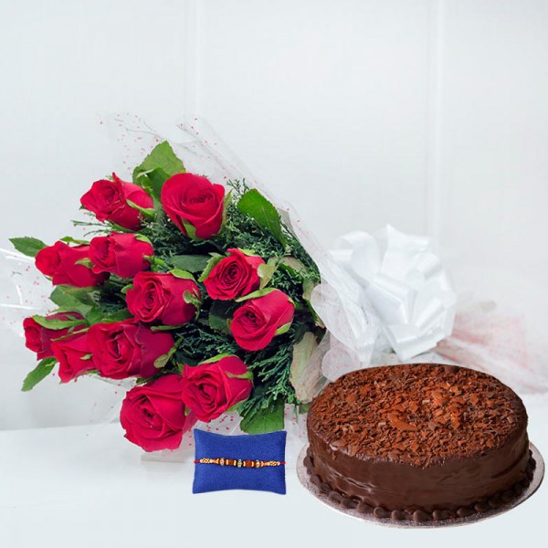 Rakhi with Roses And Cake