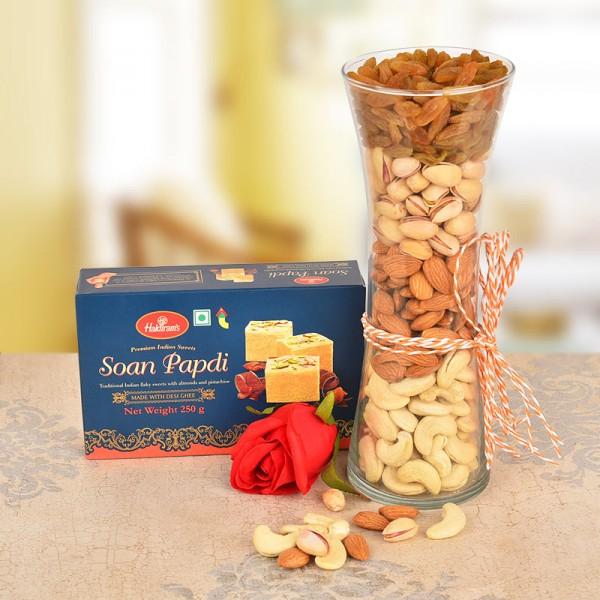 Vase full of Almond,Cashew,Pista,Raisins with Soan Papdi