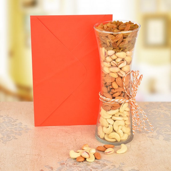 Greeting Card with Vase of Almond,Cashew,Dryfruit and Pista