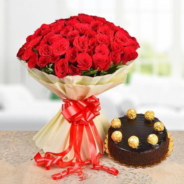 100 Red Roses with Half Kg Ferrero Chocolate Cake