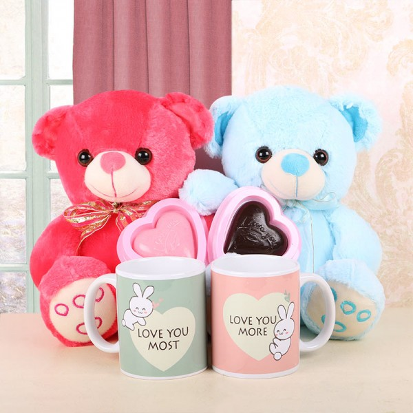 Red and Blue Teddy Bears with Homemade Chocolate and Mugs for Couple