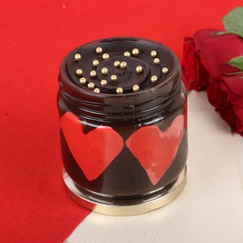 One Chocolate and Hearts in Jar