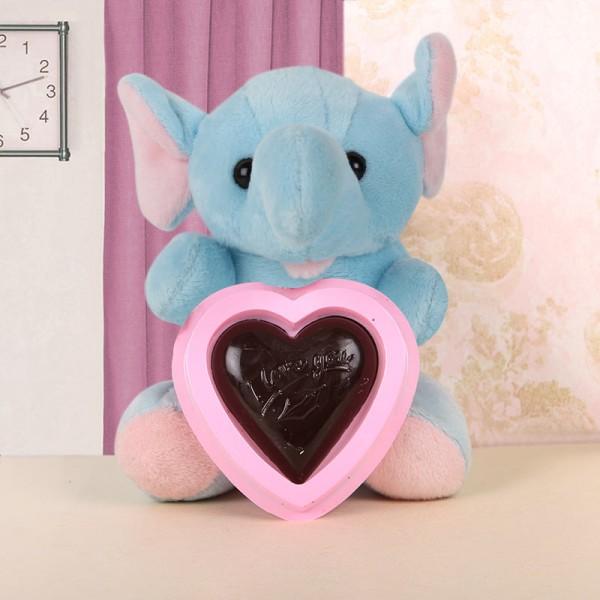 Elephant Teddy with Homemade Chocolate Heart Shape