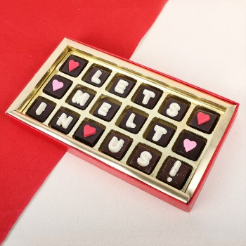 18 Assorted Chocolates in a box with Love Quote