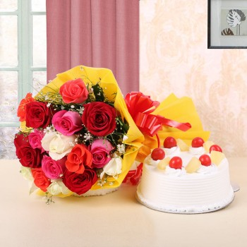 12 Assorted Roses in Yellow Paper and Red Bow with Pineapple Cake (Half Kg)