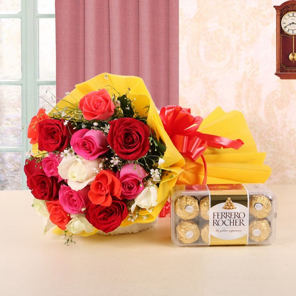 12 Assorted Roses in Yellow Paper with Ferrero Rocher (16pcs)