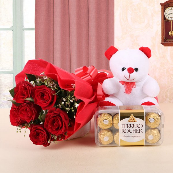 6 Red Roses in Red Paper, Red Bow with 1 Teddy Bear (6 inches) and Ferrero Rocher (16pcs)