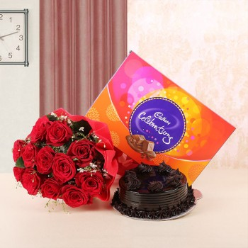 10 Red Roses in Red Paper with Truffle Cake (Half Kg) and Cadbury's Celebrations (131.1 gms)