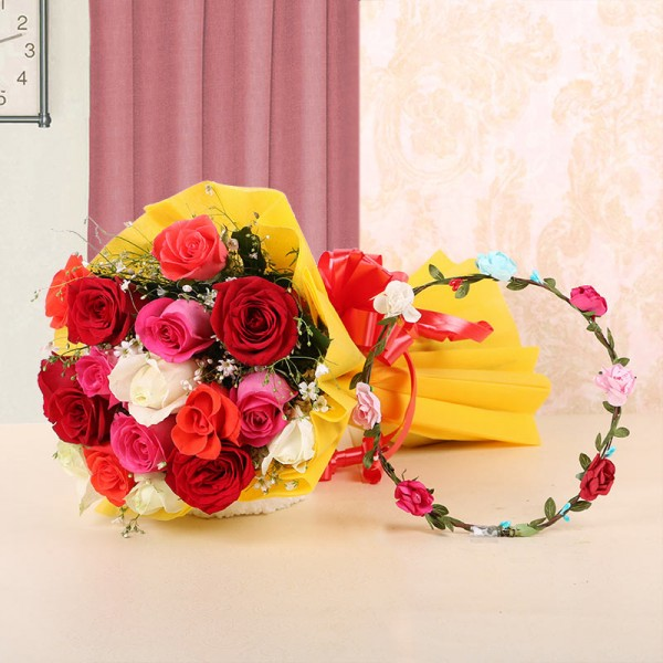 12 Assorted Roses in Yellow Paper with 1 Tiara