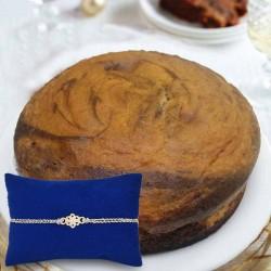 Silver Rakhi N Marble Cake