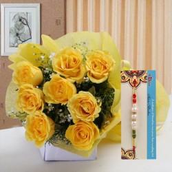 Pearl Rakhi N Yellow Roses
