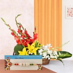 Pearl Rakhi N Floral Basket