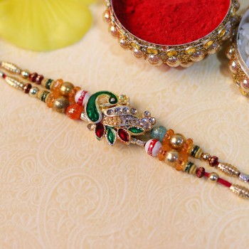 Scintillating Peacock Rakhi