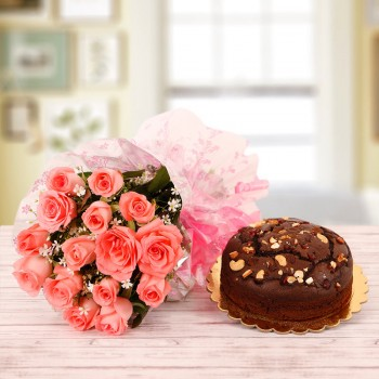 15 Pink Roses with Half Kg Plum Cake