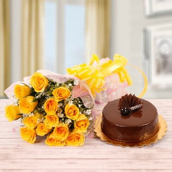 15 Yellow Roses with Half Kg Chocolate Cake