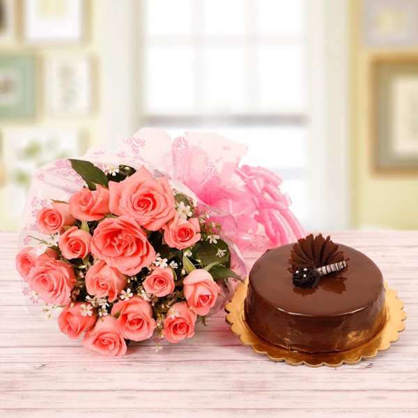 12 Pink Roses and Half Kg Chocolate Cake