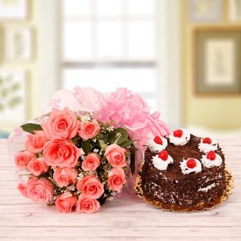 15 Pink Roses with Half Kg Black Forest Cake