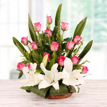 Floral Basket Arrangement of 12 Pink Roses and 2 White Asiatic Lilies