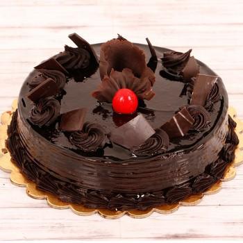 Half Kg Chocolate Truffle Cake Decorated with Cherries