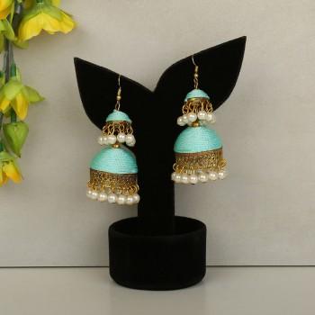 Sea Green Color Earring Set