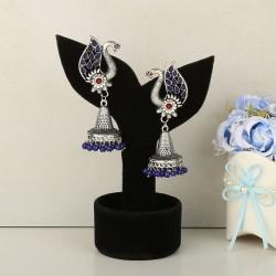 Designer Silver Peacock Earrings