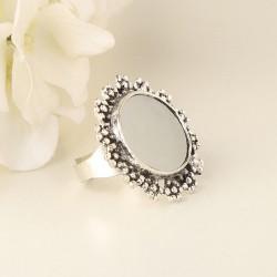 Mirror Work Silver Ring