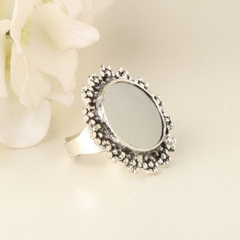 Mirror Work Silver Ring