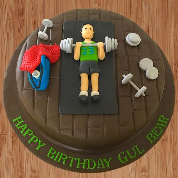 One Kg Fondant Gym Chocolate Birthday Cake