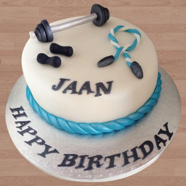One Kg Gym Theme Fondant Vanilla Gym Cake