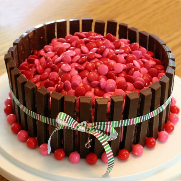 Pink Kitkat Gems Cake