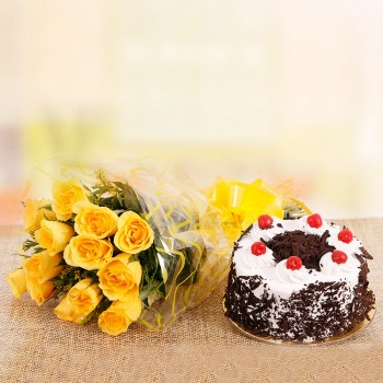 10 Yellow Roses with Half Kg Black Forest Cake