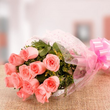 10 Pink Roses - Cellophane Packing