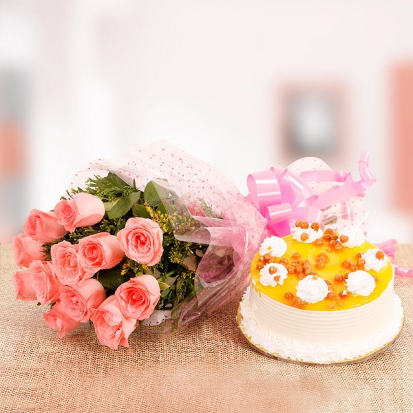10 Pink Roses Bunch with Half Kg Butterscotch Cake