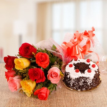 10 Mix Roses with Half Kg Black Forest Cake