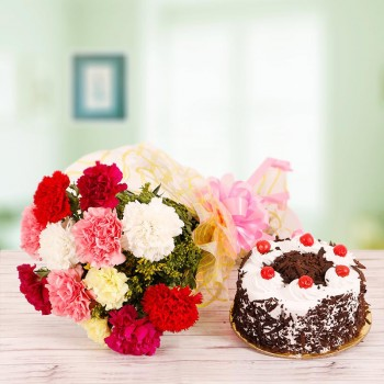 10 Mix Carnations with Half Kg Black forest Cake