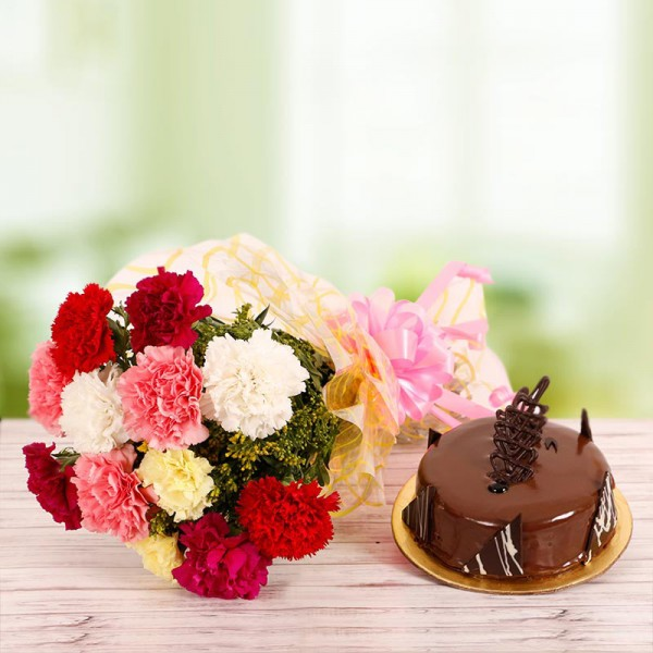 10 Mix Carnations Bouquet with Half Kg Chocolate Cake