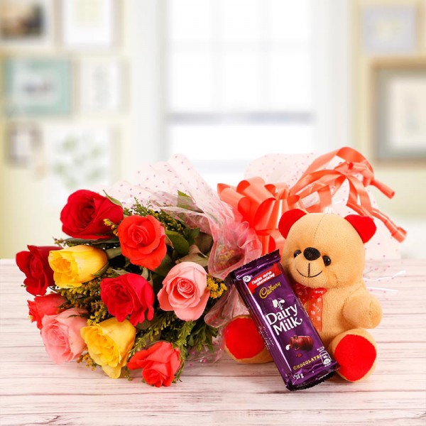 10 Mix Roses with 6 inches Teddy and 1 Dairy Milk Silk Chocolates