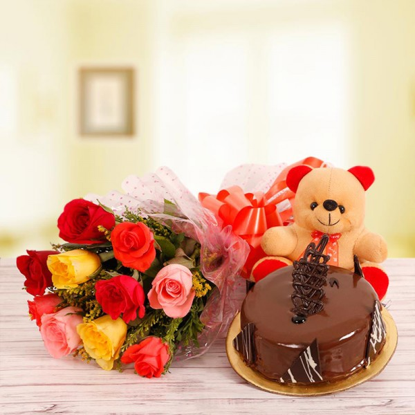 10 Mix Roses with Half Kg Chocolate Truffle Cake and 6 inches Teddy
