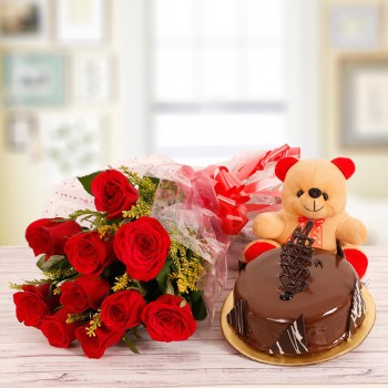 10 Red Roses with Half Kg Chocolate Cake and 6 inches Teddy