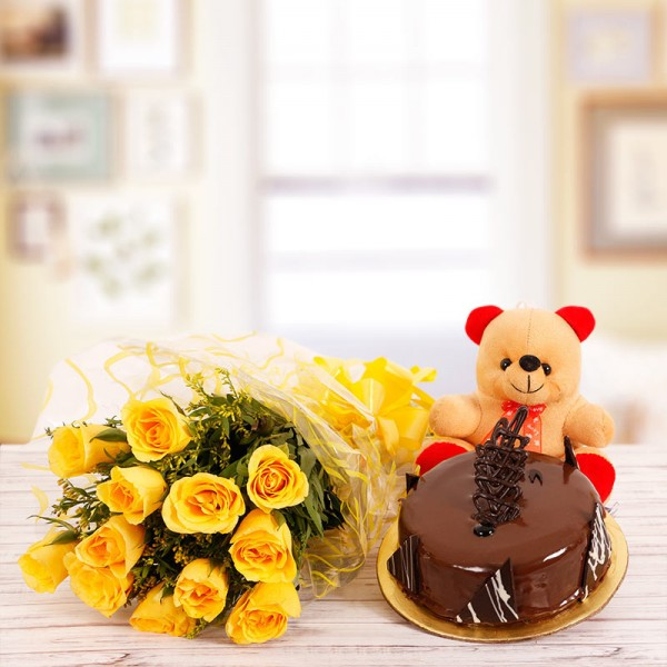 10 Yellow Roses with Half Kg Chocolate Cake and 6 inches Teddy