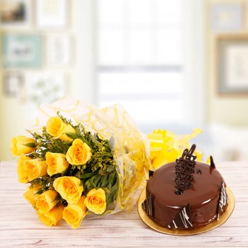 10 Yellow Roses with Half Kg Chocolate Truffle Cake